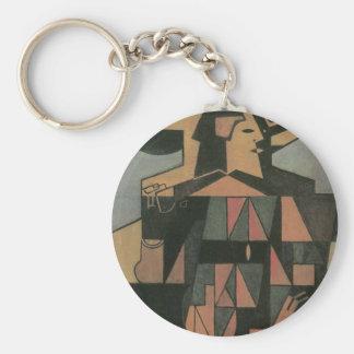 Harlequin de Juan Gris, arte del cubismo del Llavero Redondo Tipo Pin