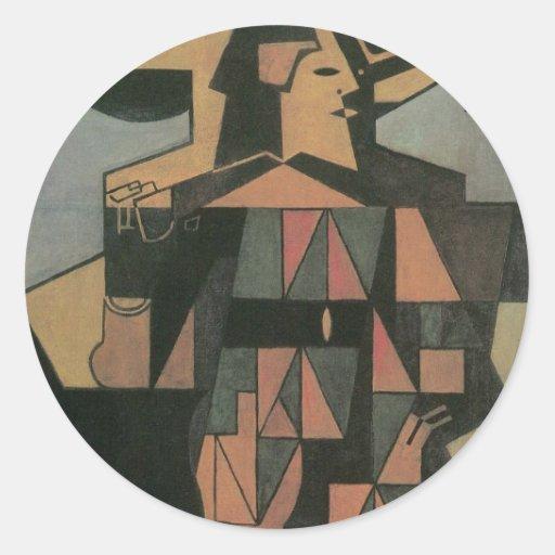 Harlequin de Juan Gris, cubismo del vintage Pegatinas Redondas