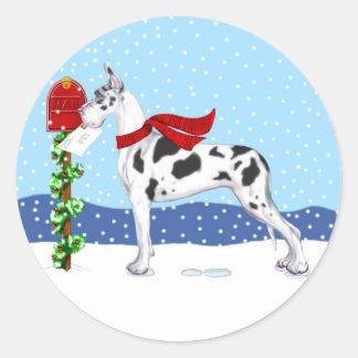 Harlequin del correo del navidad de great dane pegatina redonda