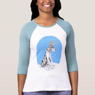 Harlequin del navidad del reno de great dane camiseta