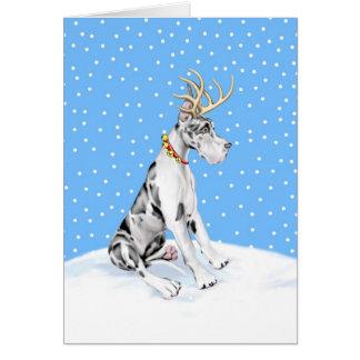 Harlequin del navidad del reno de great dane tarjetas