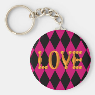 Harlequin Diamond Gold LOVE Basic Round Button Keychain