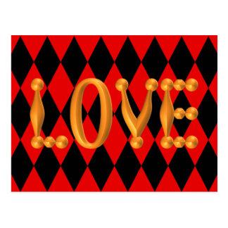 Harlequin Diamond Gold LOVE Postcards