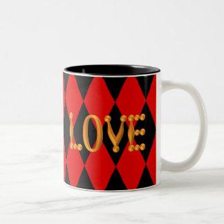 Harlequin Diamond Gold LOVE Two-Tone Coffee Mug