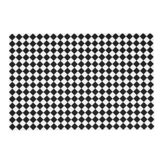 Harlequin Diamond Pattern Black and White Laminated Place Mat