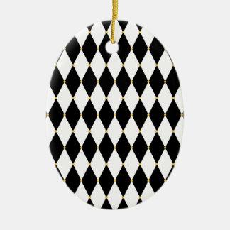 Harlequin Diamond Pattern Ceramic Ornament