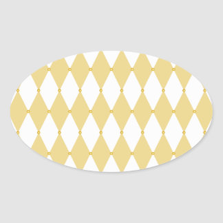 Harlequin Diamond Pattern Oval Sticker