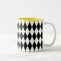 Harlequin Diamond Pattern Two-Tone Coffee Mug
