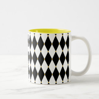 Harlequin Diamond Pattern Two-Tone Coffee Mug