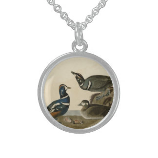 Harlequin Duck Round Pendant Necklace