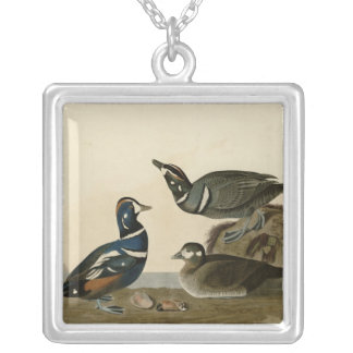 Harlequin Duck Square Pendant Necklace