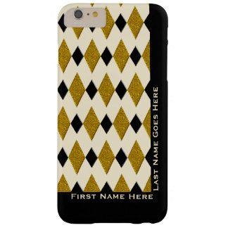 Harlequin en el oro, negro, crema (personalizada) funda barely there iPhone 6 plus