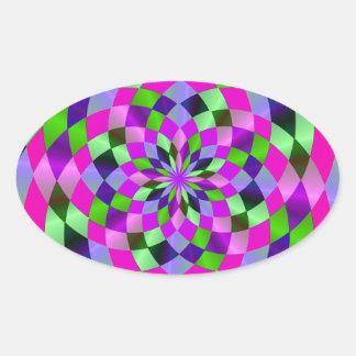 Harlequin Flare Oval Sticker