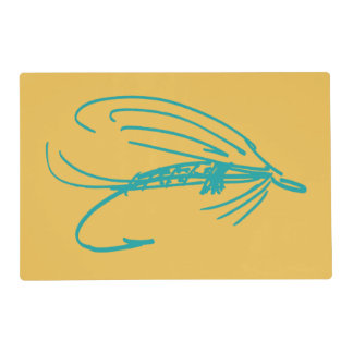 Harlequin Fly Fishing Lures Pattern Placemat