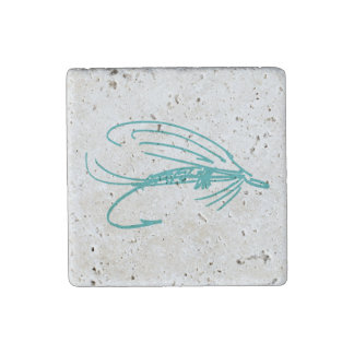 Harlequin Fly Fishing Lures Pattern Stone Magnet