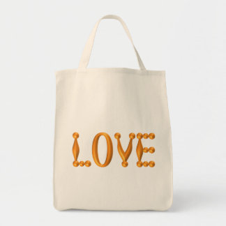 Harlequin Gold LOVE Grocery Tote Bag