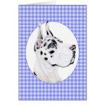 Harlequin Great Dane Blue Check Card