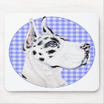 Harlequin Great Dane Blue Check Mouse Pads