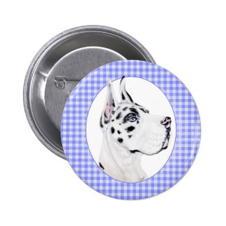 Harlequin Great Dane Blue Check Pinback Button