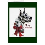 Harlequin Great Dane Christmas Gifts Greeting Card