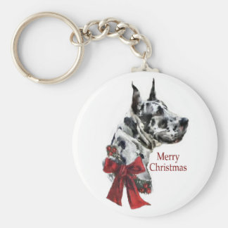 Harlequin Great Dane Christmas Gifts Keychain