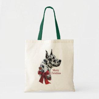 Harlequin Great Dane Christmas Gifts Tote Bag