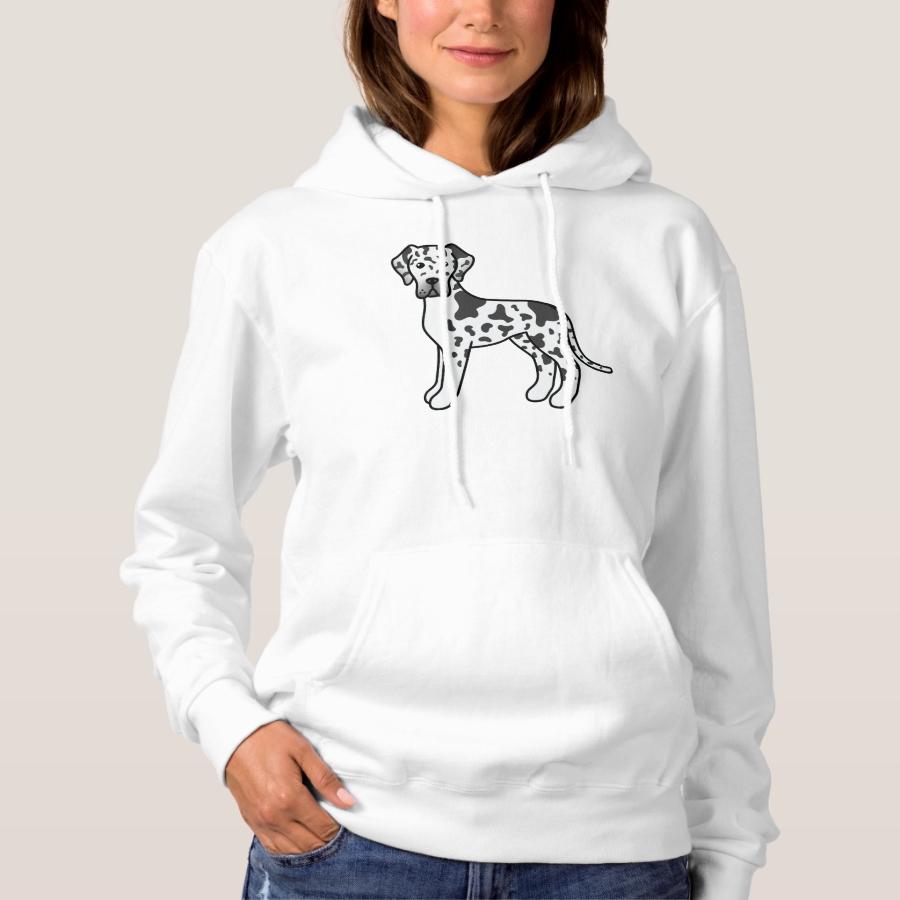 Harlequin Great Dane Cute Cartoon Dog Hoodie - Creative Long-Sleeve Fashion Shirt Designs