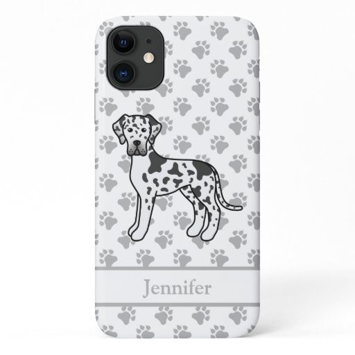 Harlequin Great Dane Cute Cartoon Dog & Name iPhone 11 Case