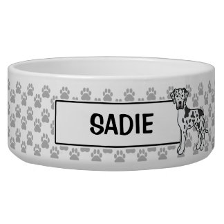 Harlequin Great Dane Dog Drawing With Pet's Name Bowl