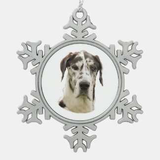 Harlequin Great Dane dog photo Snowflake Pewter Christmas Ornament
