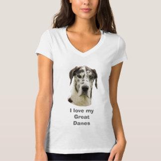 Harlequin Great Dane dog photo T-shirt