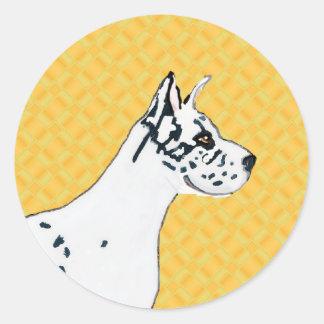 Harlequin great dane - perfil pegatina redonda