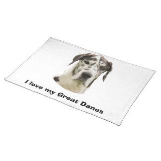 Harlequin Great Dane Pet Portrait Place Mat