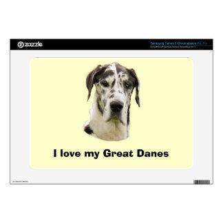 Harlequin Great Dane Pet Portrait Samsung Chromebook Decal