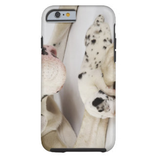 Harlequin Great Dane puppy sleeping on mother's Tough iPhone 6 Case