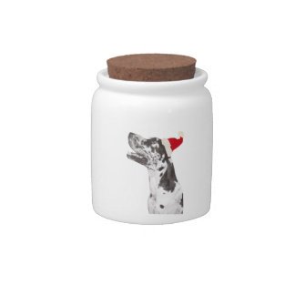 Harlequin Great Dane Santa Hat Candy Jar