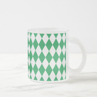 Harlequin Green and White Frosted Glass Coffee Mug
