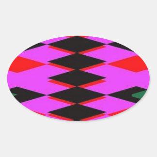 Harlequin Hot Pink Jokers Deck Oval Sticker