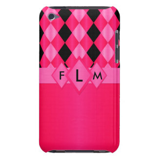 Harlequin Hot Pink Monogram-iPod Touch 4g Case Barely There iPod Case