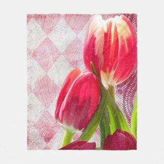 Harlequin, hot pink painted tulip fleece blanket