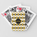 Harlequin in Gold, Black, Cream (Monogram) Bicycle Card Deck