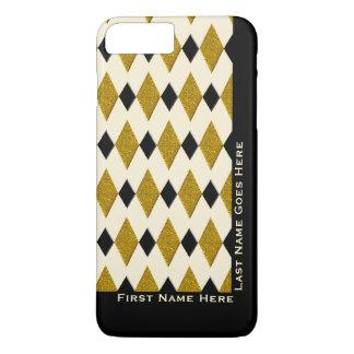 Harlequin in Gold, Black, Cream (Personalized) iPhone 7 Plus Case