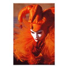 Harlequin in Orange at the Carnival of Venice Photo Print