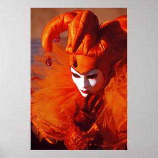 Harlequin in Orange at the Carnival of Venice Poster
