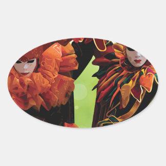 Harlequin Mask Oval Sticker