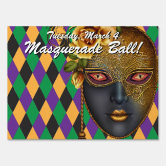 Harlequin Masquerade Ball! Party Sign