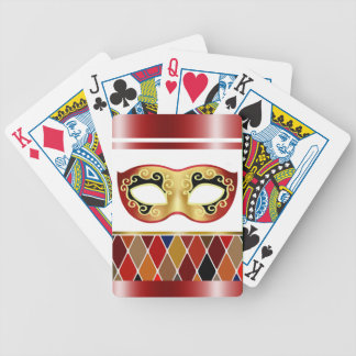 Harlequin Masquerade - red | burgundy Bicycle Playing Cards