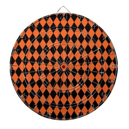 Harlequin Orange and Black Dartboard With Darts