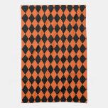 Harlequin Orange and Black Hand Towel
