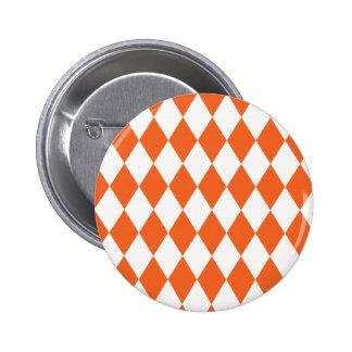 Harlequin Orange and White Button